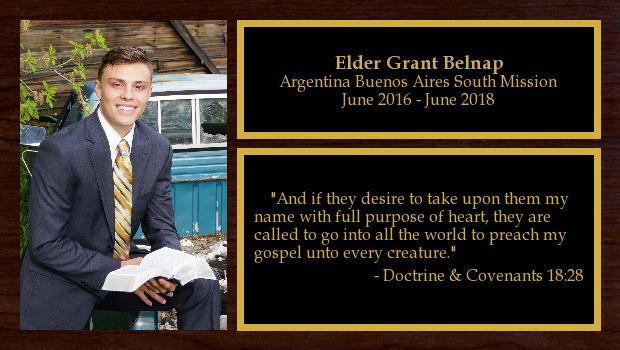 June 2016 to June 2018<br/>Elder Grant Belnap