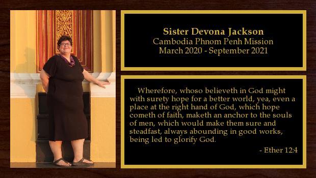 March 2020 to September 2021<br/>Sister Devona Jackson