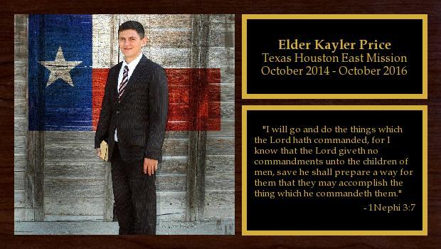 October 2014 to October 2016<br/>Elder Kayler Price