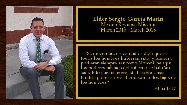 March 2016 to March 2018<br/>Elder Sergio Garcia Marin