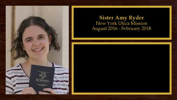 August 2016 to February 2018<br/>Sister Amy Ryder
