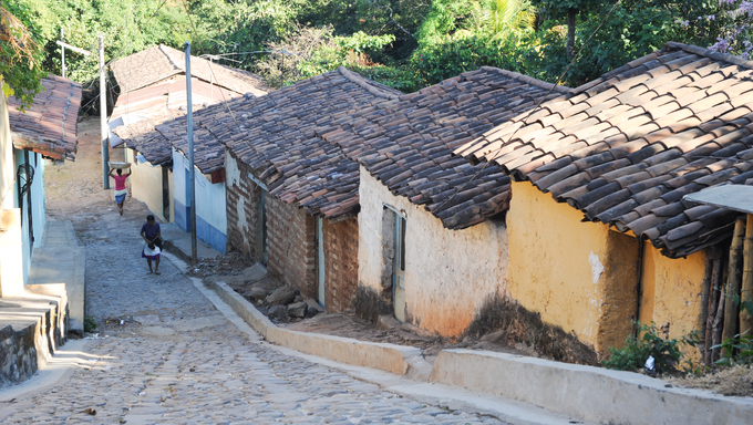 Colonial town of Suchitoto on El Salvador
