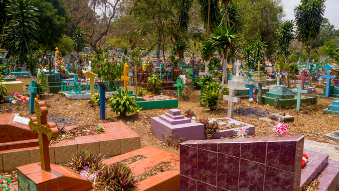 Central american colorful graveyard, cementery at El Salvador