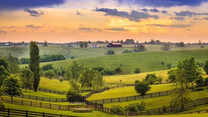 Beautiful evening scene in Kentucky's Bluegrass region