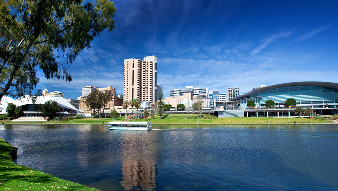An old boat cruises on the River Torrens -  Adelaide, South Australia