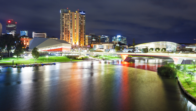 Riverbank Precinct of Adelaide in South Australia at night.