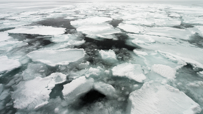 Drift Ice of Okhotsk Sea in Hokkaido, Japan.