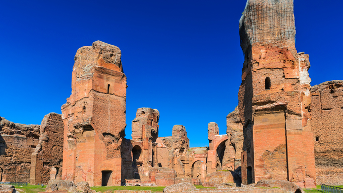 Rome, Italy. Baths of Caracalla, ancient ruins of roman public thermae built by Emperor Caracalla, between 212 and 216AD.