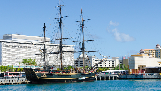 An antique ship docked in Puerto Rico.