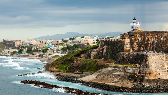 Crashing surf on the beach at El Morro Fortress, San Juan, Puerto Rico.