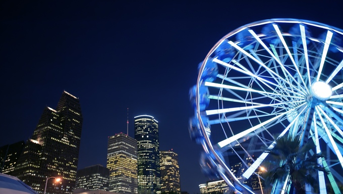 Ferris wheel at the fair night lights in Houston Texas