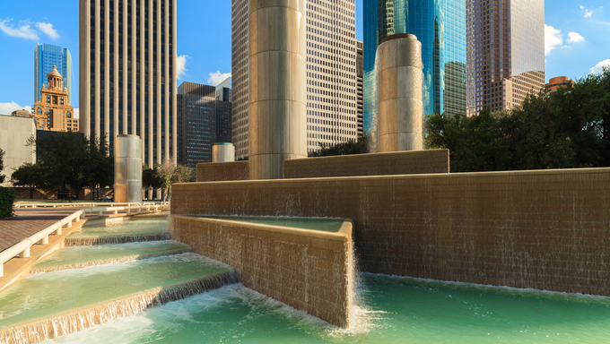 Cityscape view of Tranquility Park in downtown Houston, Texas.
