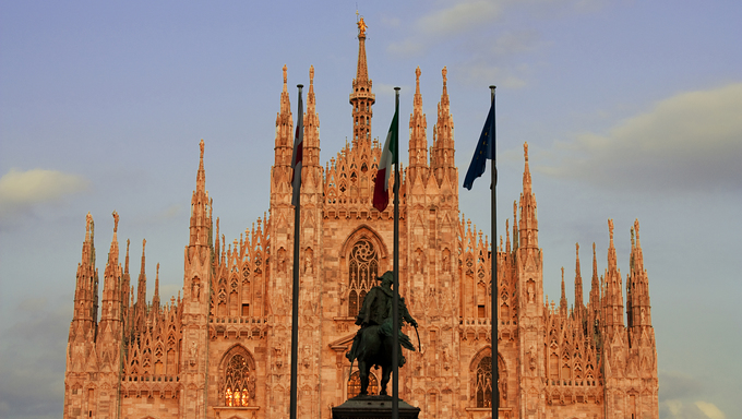 Milan Cathedral with the sky background.
