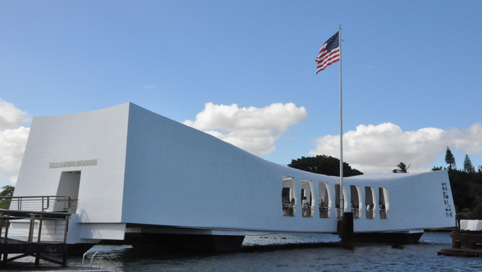 Pearl Harbor memorial building.