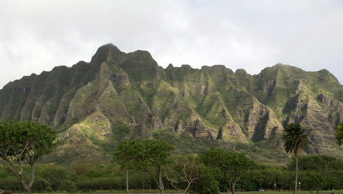 Mountains on a foggy day in Hawaii.