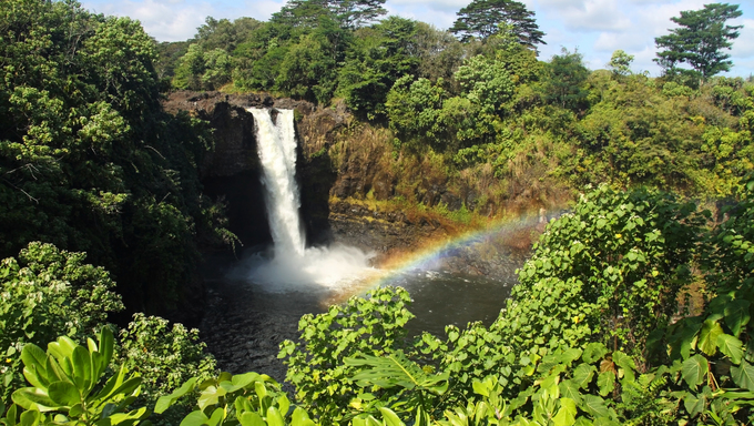 Hidden waterfall and rainbow on Hawaii.