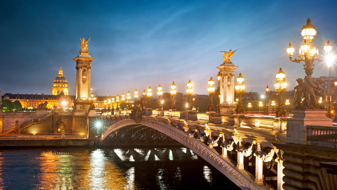 The Alexandre 3 Bridge in Paris, France.