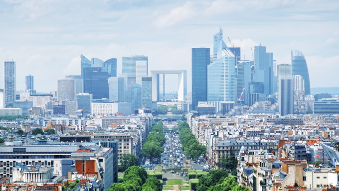 View of Le Defence from the Arch of Triumph. Le Defence is a major business district of the Paris aire urbaine.