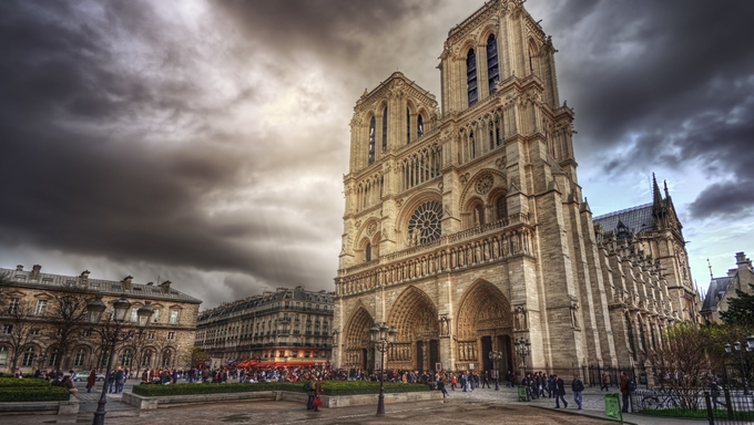 View of Notre Dame in Paris, France.