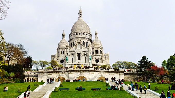 The Sacre Coeur on Montmartre in paris is one of the landmarks of the city.
