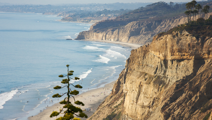 Torrey Pines Beach and Coast in San Diego, California.