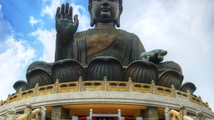 Tian Tan Buddha (Great Buddha) is a 34 meter Buddha statue located on Lantau Island in Hong Kong.