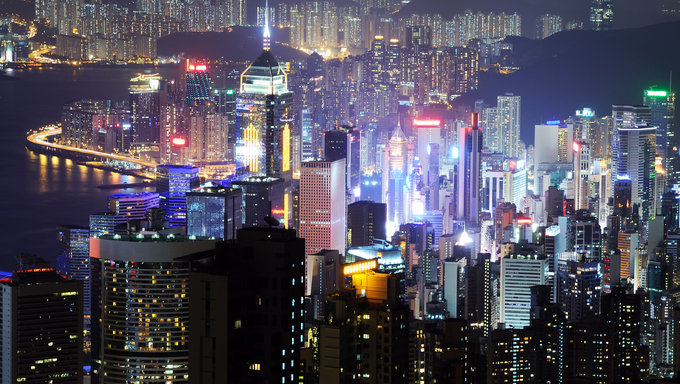 Hong Kong island photographed from Victoria's Peak at night