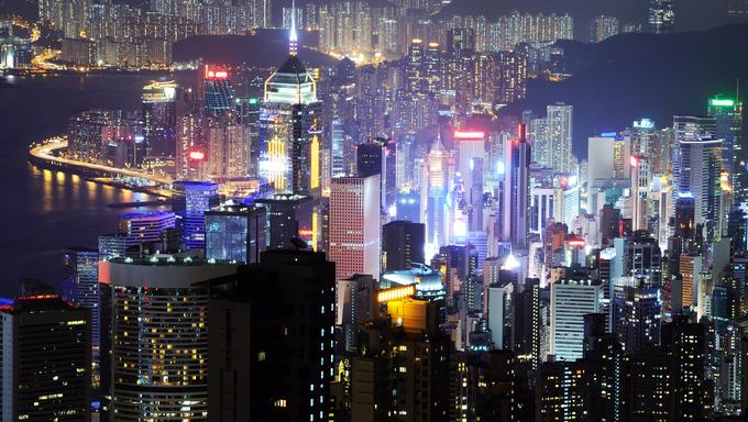 Hong Kong island photographed from Victoria's Peak at night
