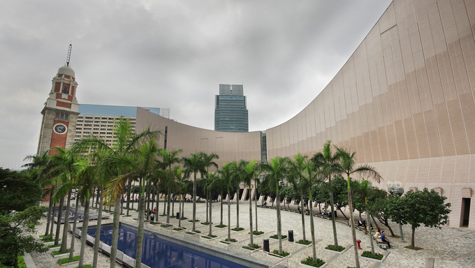 Architecture structure of Hong Kong Cultural Centre over sky