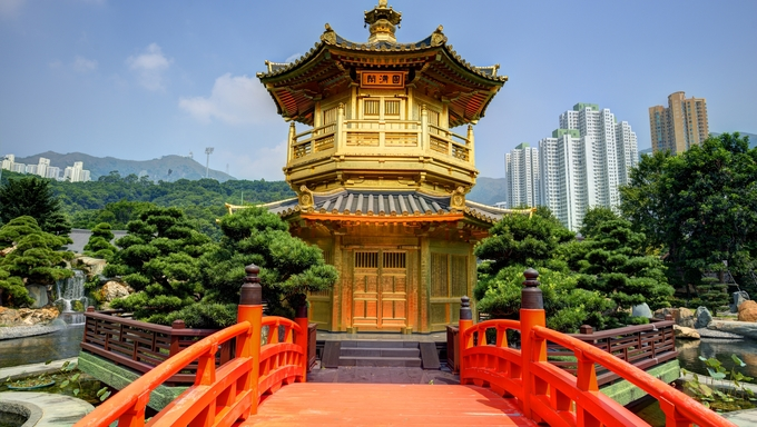 Golden Pavilion of Perfection in Nan Lian Garden, Hong Kong, China.