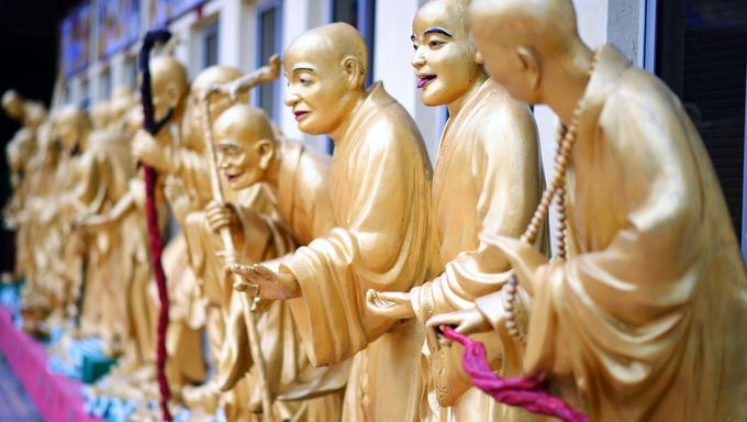 october 14: Statues sat Ten Thousand Buddhas Monastery in Sha Tin, Hong Kong, China.
