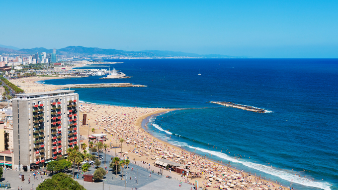 Barceloneta beach in Barcelona, Spain.