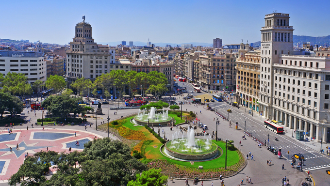 Aerial view of Placa Catalunya on August 17, 2012 in Barcelona, Spain. This square is considered to be the city center and some of the most important streets meet there.