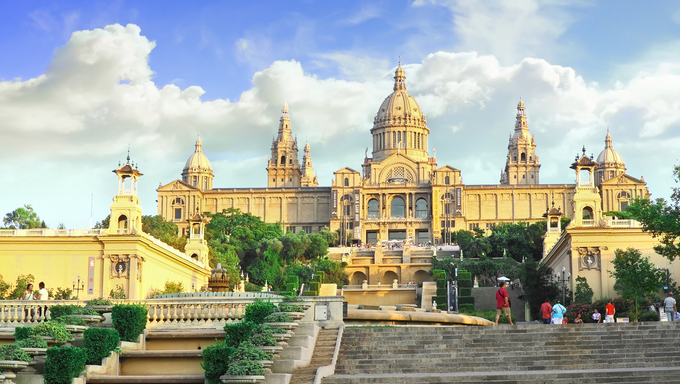 Placa De Espanya, the National Museum in Barcelona, Spain.