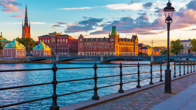 Scenic summer sunset in the Old Town (Gamla Stan) in Stockholm, Sweden