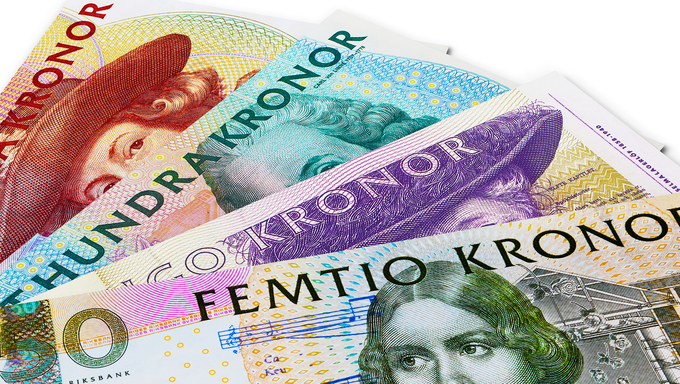 Set of Swedish krona banknotes isolated on white background
