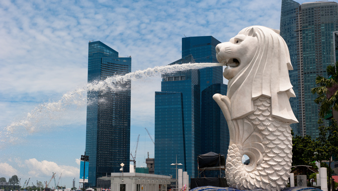 Merlion statue, landmark of Singapore