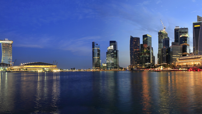 Singapore Skyline from Marina Bay  Esplanade at Night Panorama