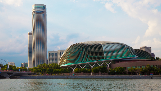 Singapore opera house and skyline on a late afternoon.