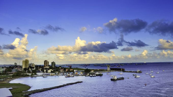 The harbor at Colon, Panama with the city in the background.