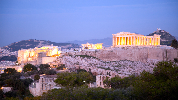 The Acropolis in Athens, Greece at night.