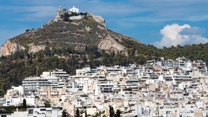 View of Mount Lycabettus in Athens .