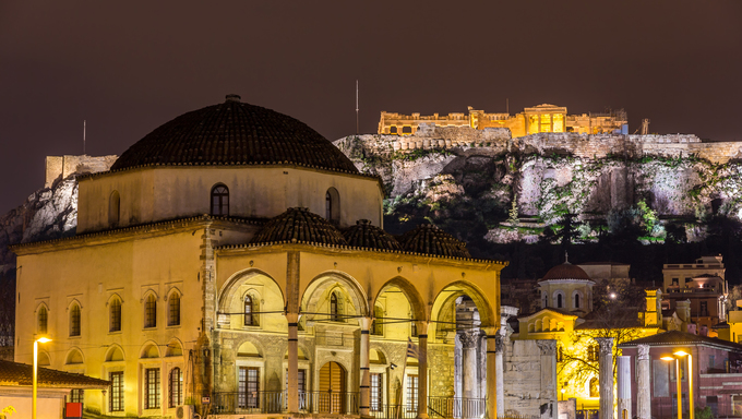Tzistarakis Mosque and Acropolis of Athens, Greece.