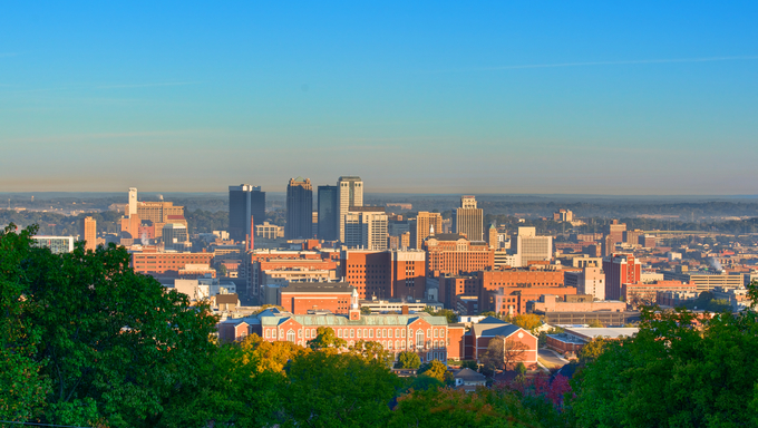 Birmingham Alabama in morning sun from Vulcan Park.