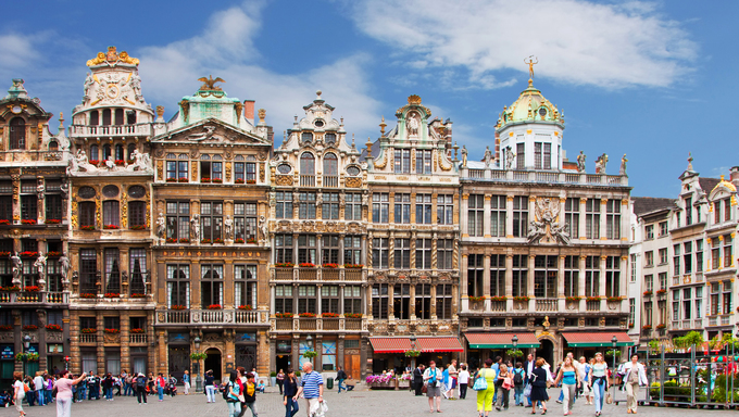 View of Grand Place at Grand Place, Brussels, Belgium.