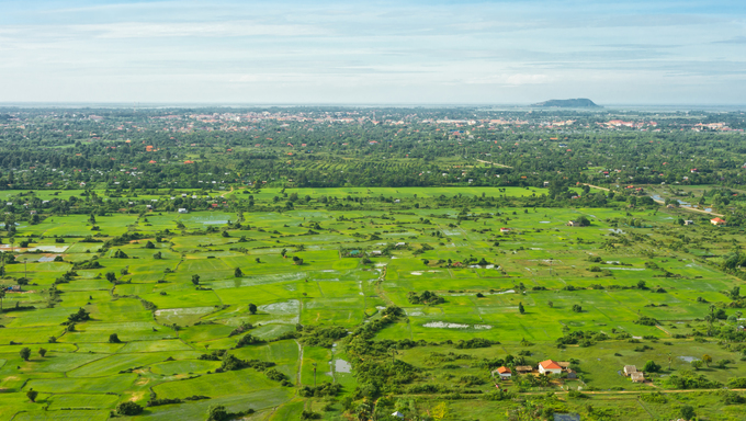 Aerial view from balloon of Siem Reap city and fields, Angkor area, Cambodia, Southeast Asia.