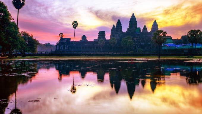 Angkor Wat sunrise at Siem Reap, Cambodia.