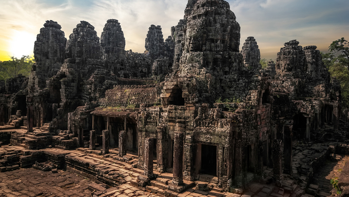 Ancient Khmer architecture. Amazing view of Bayon temple at sunset. Angkor Wat complex, Siem Reap, Cambodia travel destinations.