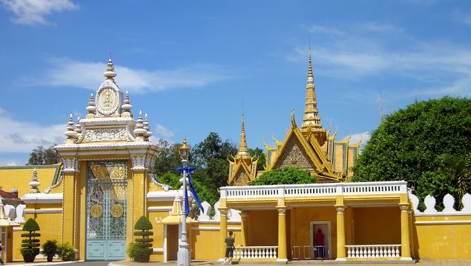 Royal Palace complex, traditional khmer architecture in Phnom Penh, Cambodia.
