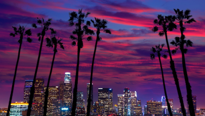 Downtown LA. Los Angeles sunset colorful skyline California.